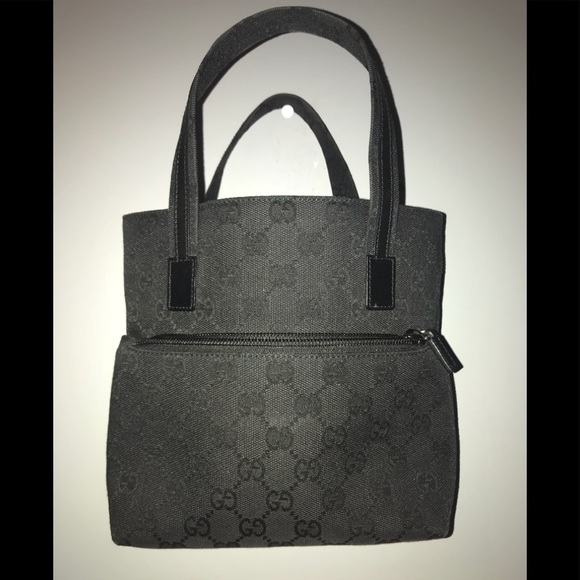 49ac7800bae Authentic Gucci Gg Canvas Tote Bag Black Leather